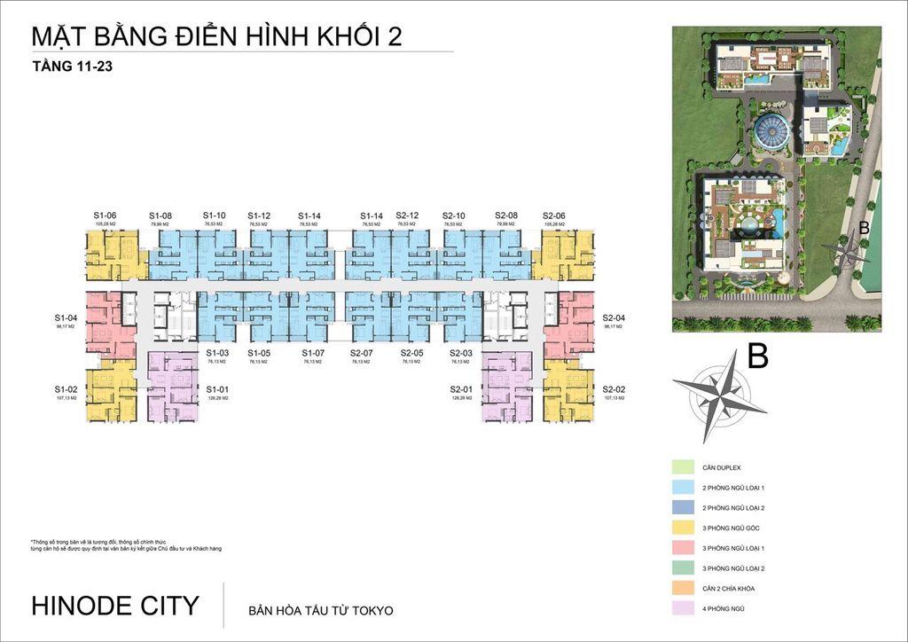 mặt bằng khối 2 chung cư hinode city tầng 11 - 23