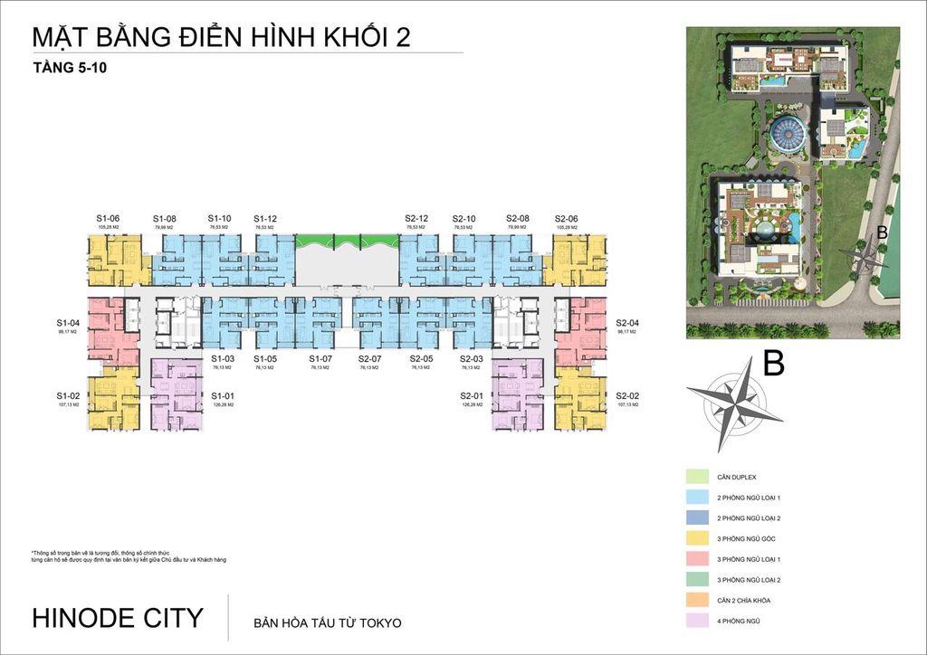 mặt bằng khối 2 chung cư hinode city tầng 5 - 10