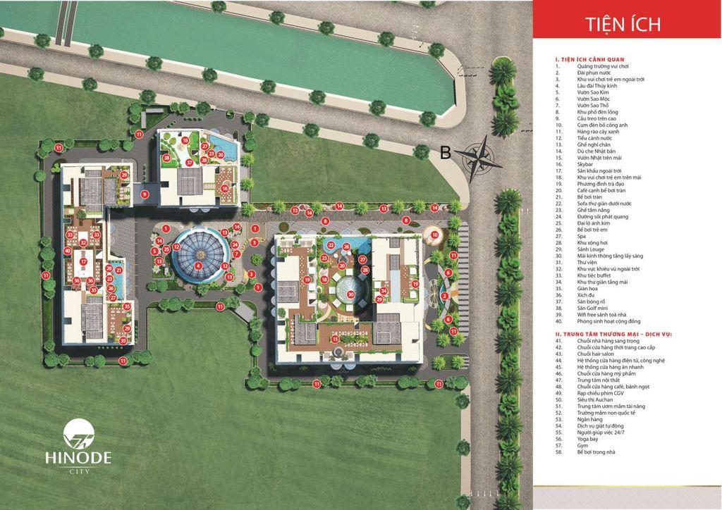 tiện ích dự án chung cư hinode city