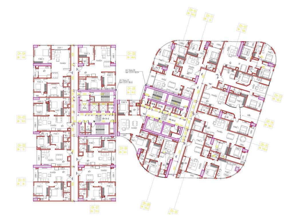 mặt bằng chung cư manhattan tower tầng 9-28