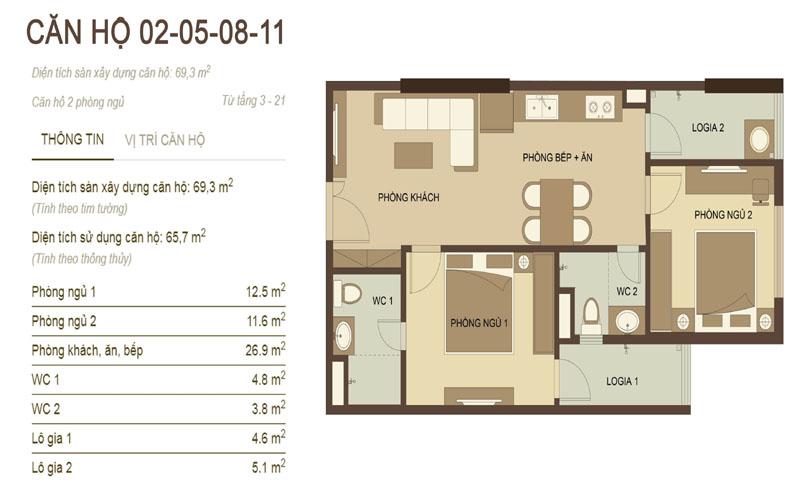 thiết kế căn hộ 2,5,8,11 chung cư hòa phát nguyễn đức cảnh