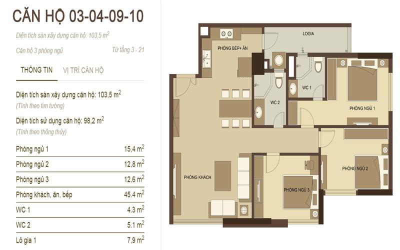 thiết kế căn hộ 3,4,9,10 chung cư hòa phát nguyễn đức cảnh