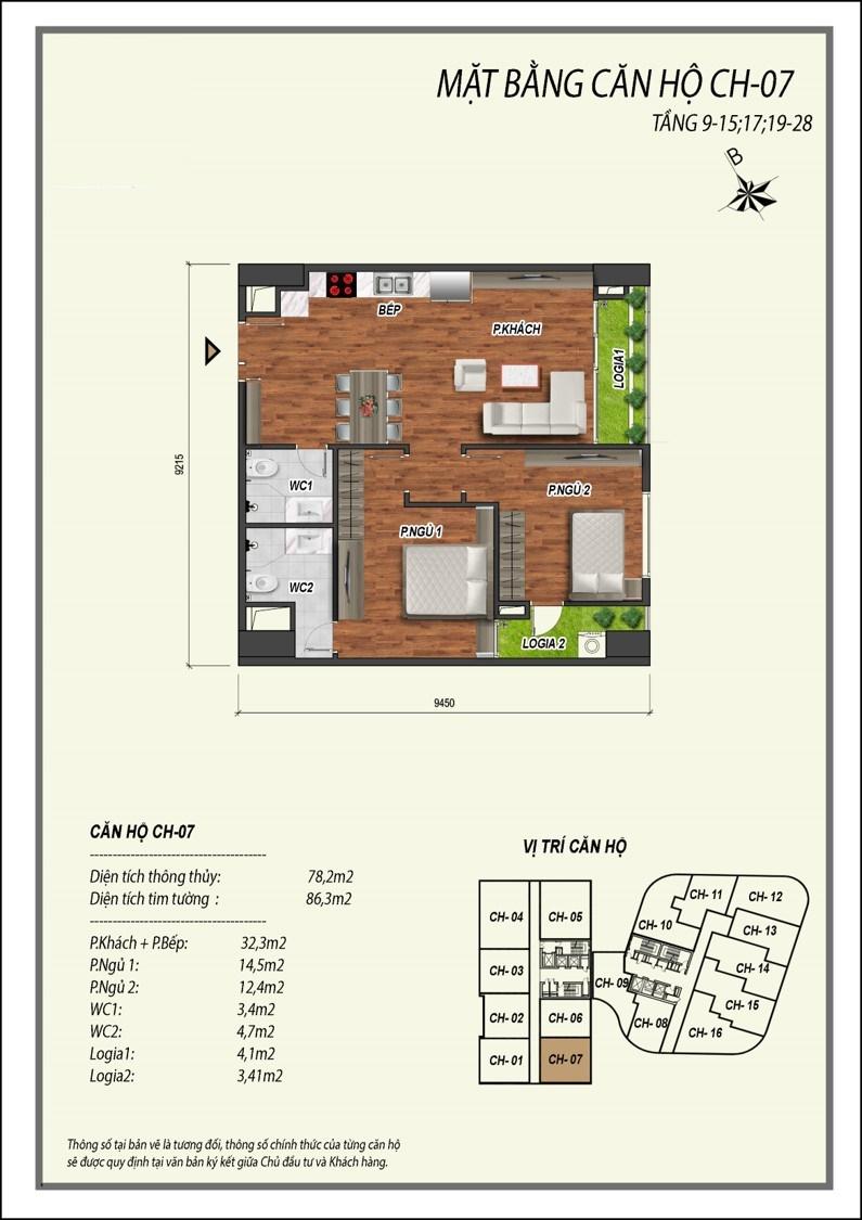 thiết kế căn hộ 2 ngủ manhattan tower