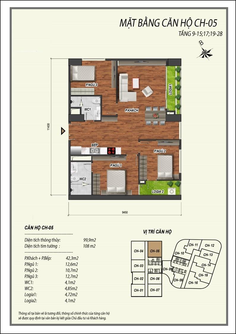 thiết kế căn hộ 3 ngủ manhattan tower