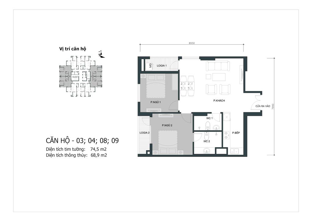 thiết kế chung cư mipec city view căn 03,04,08,09
