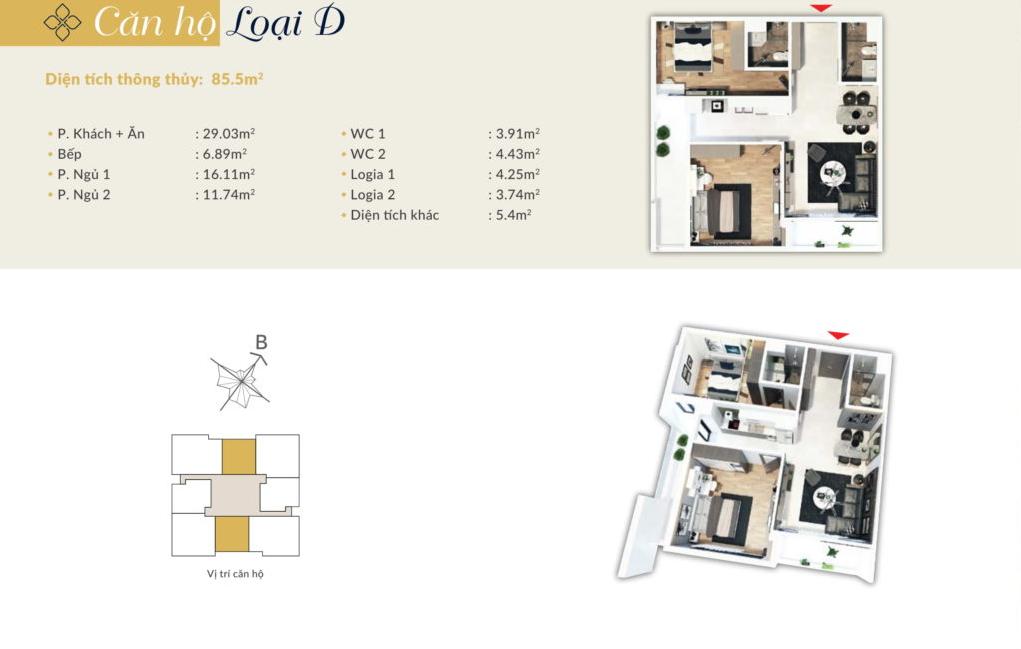 chung cư bohemia residence căn hộ d