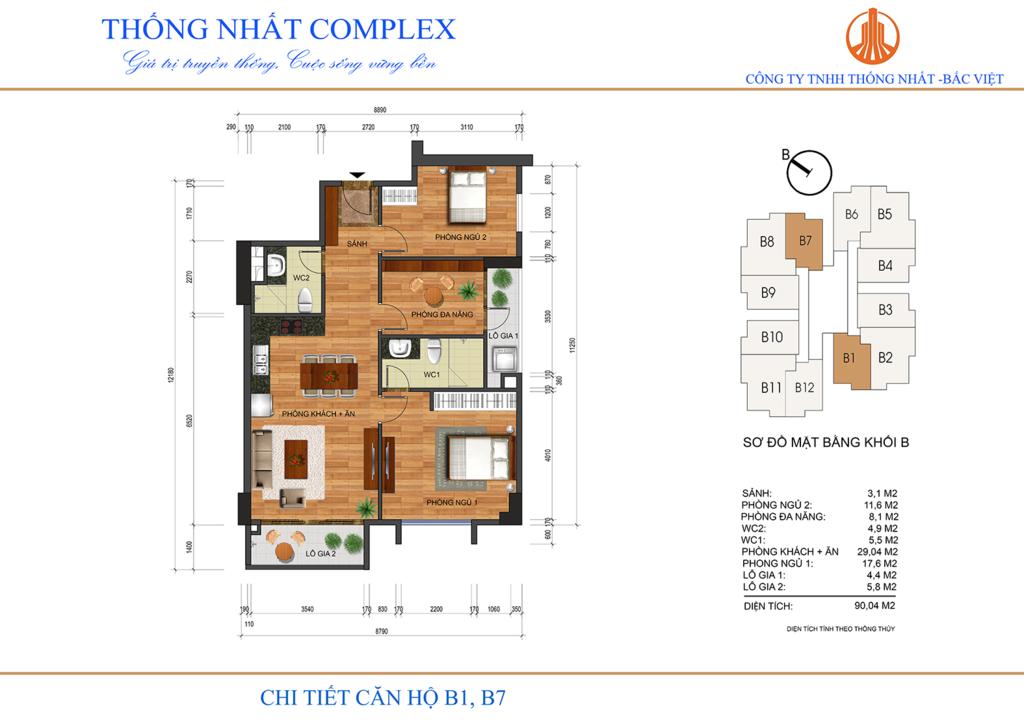 thiết kế căn hộ b1,b7 thống nhất complex