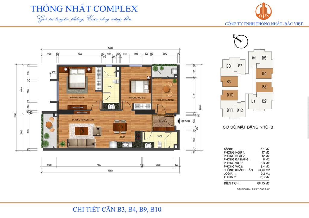 thiết kế căn hộ b3,b4,b9,b10 thống nhất complex