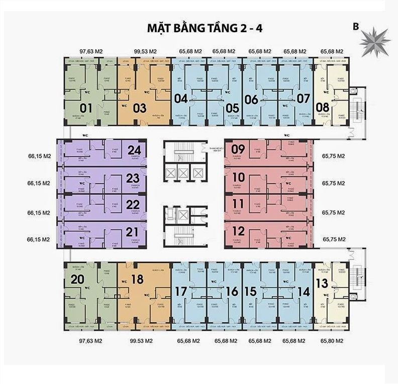 mặt bằng chung cư 187 tây sơn tầng 2-4