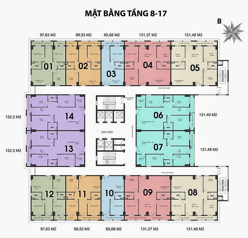 mặt bằng chung cư 187 tây sơn tầng 8-17