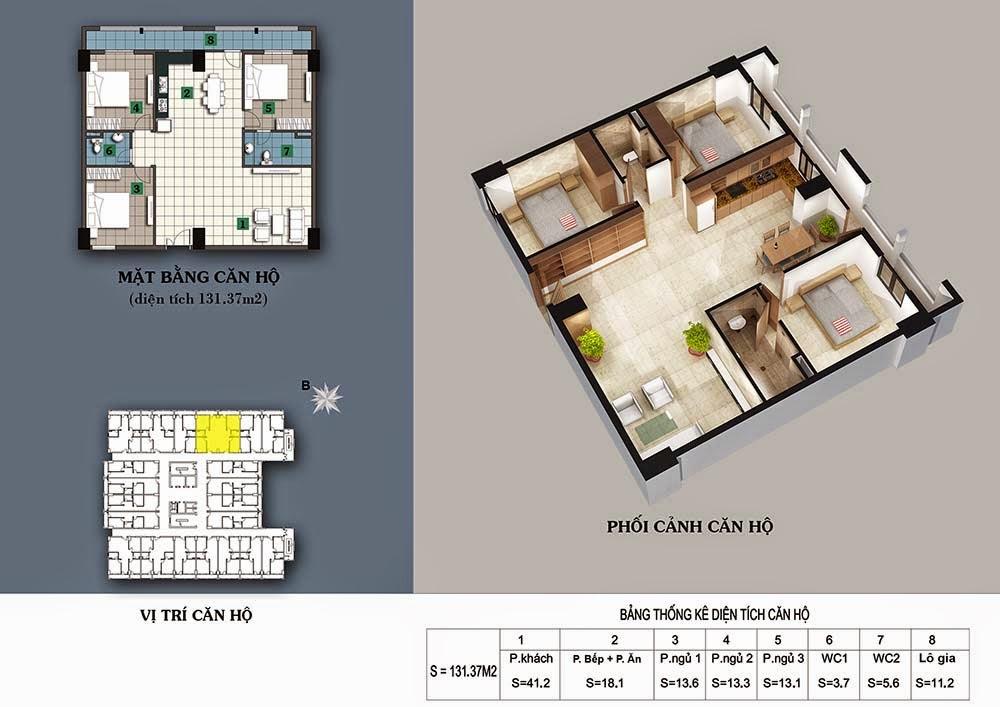 thiết kế chung cư 187 tây sơn căn 131 m2
