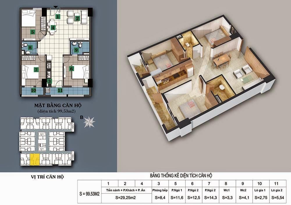 thiết kế chung cư 187 tây sơn căn 99 m2