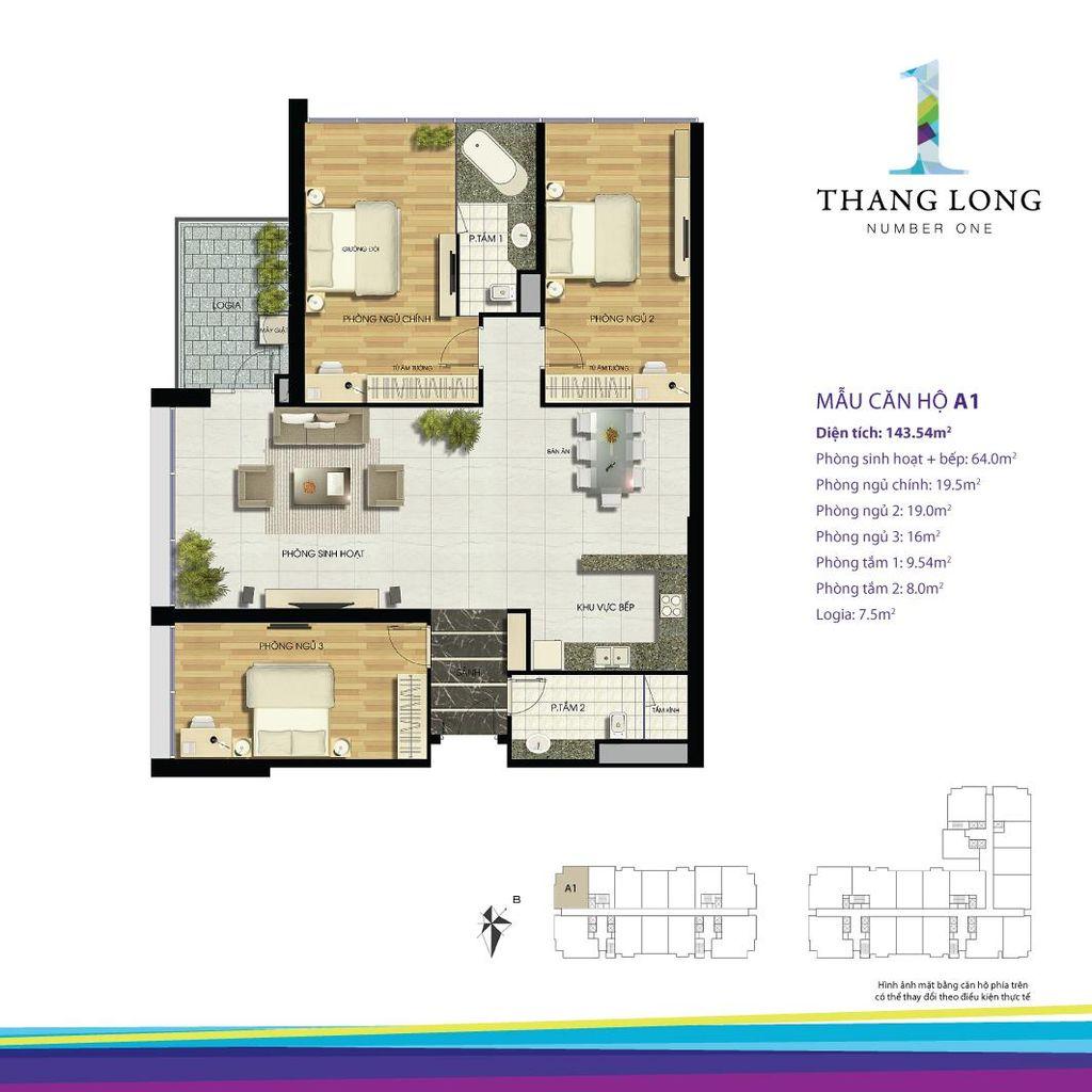 thiết kế chung cư thăng long number one căn a1