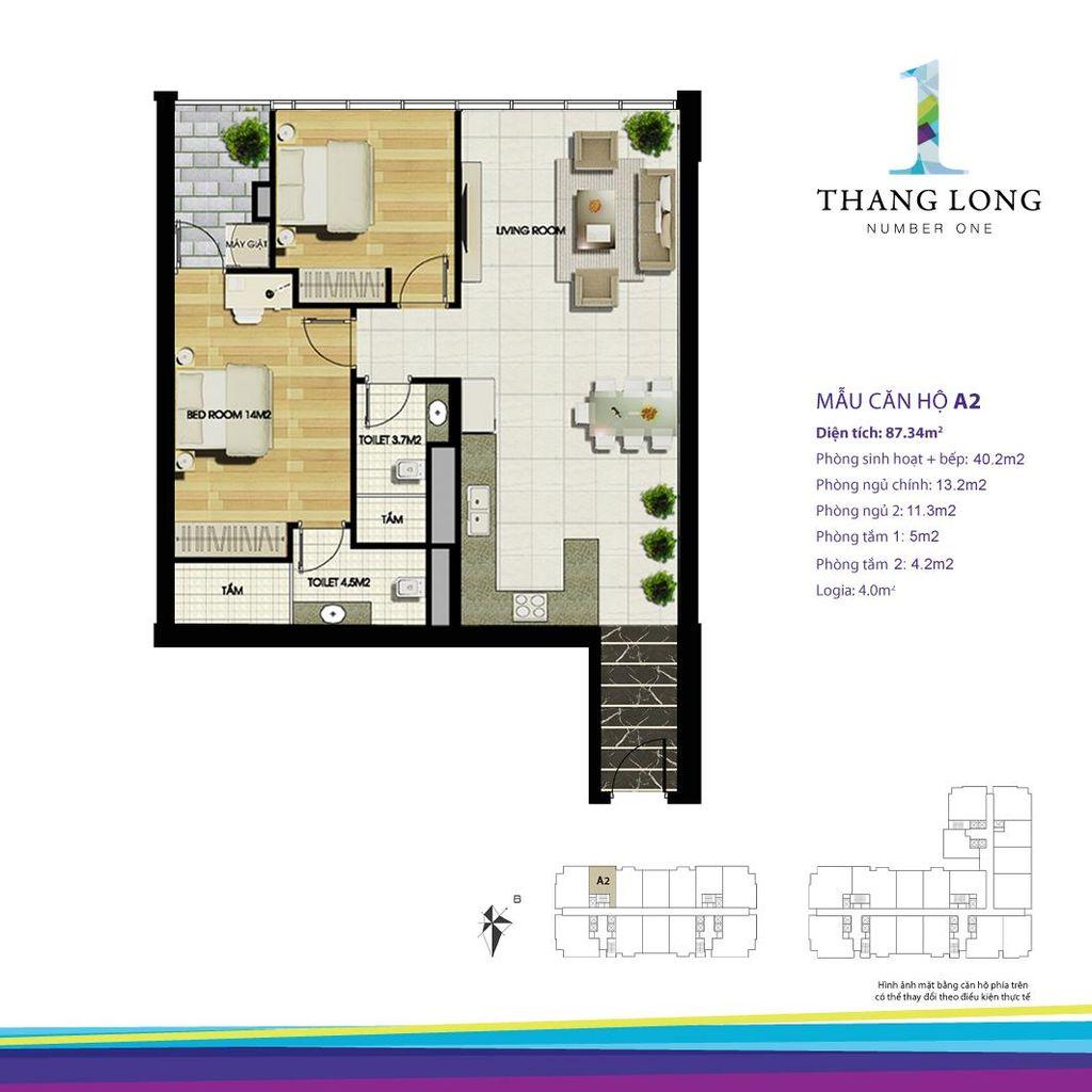 thiết kế chung cư thăng long number one căn a2