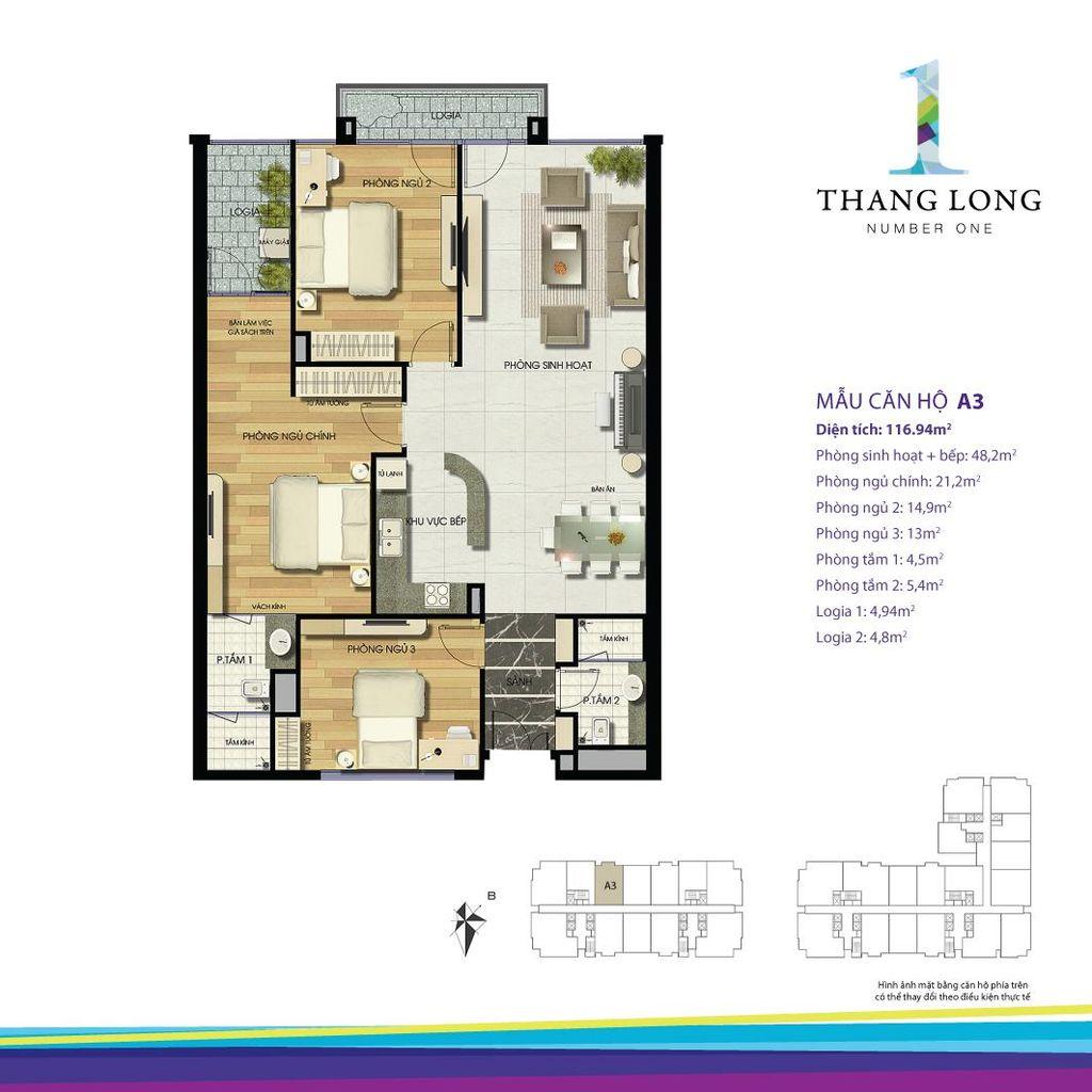 thiết kế chung cư thăng long number one căn a3
