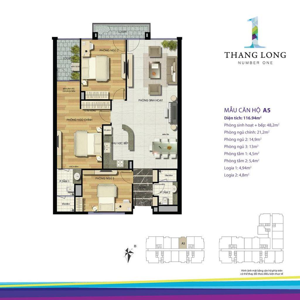 thiết kế chung cư thăng long number one căn a5