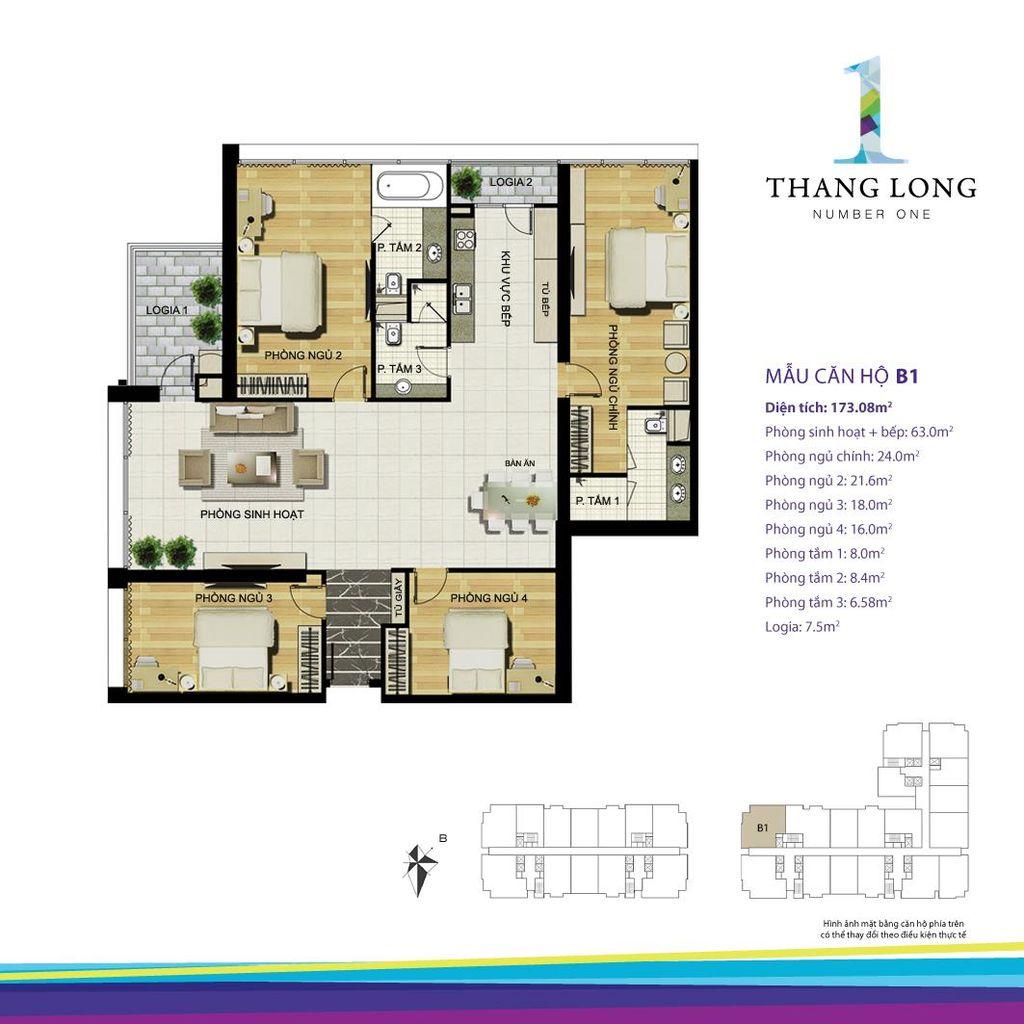 thiết kế căn hộ chung cư thăng long number one căn b1