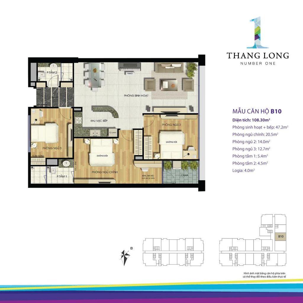 thiết kế căn hộ chung cư thăng long number one căn b10