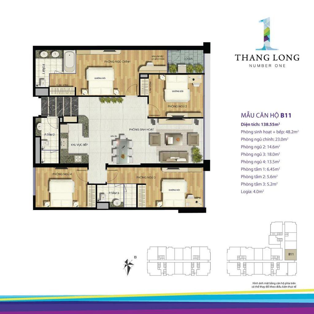 thiết kế căn hộ chung cư thăng long number one căn b11