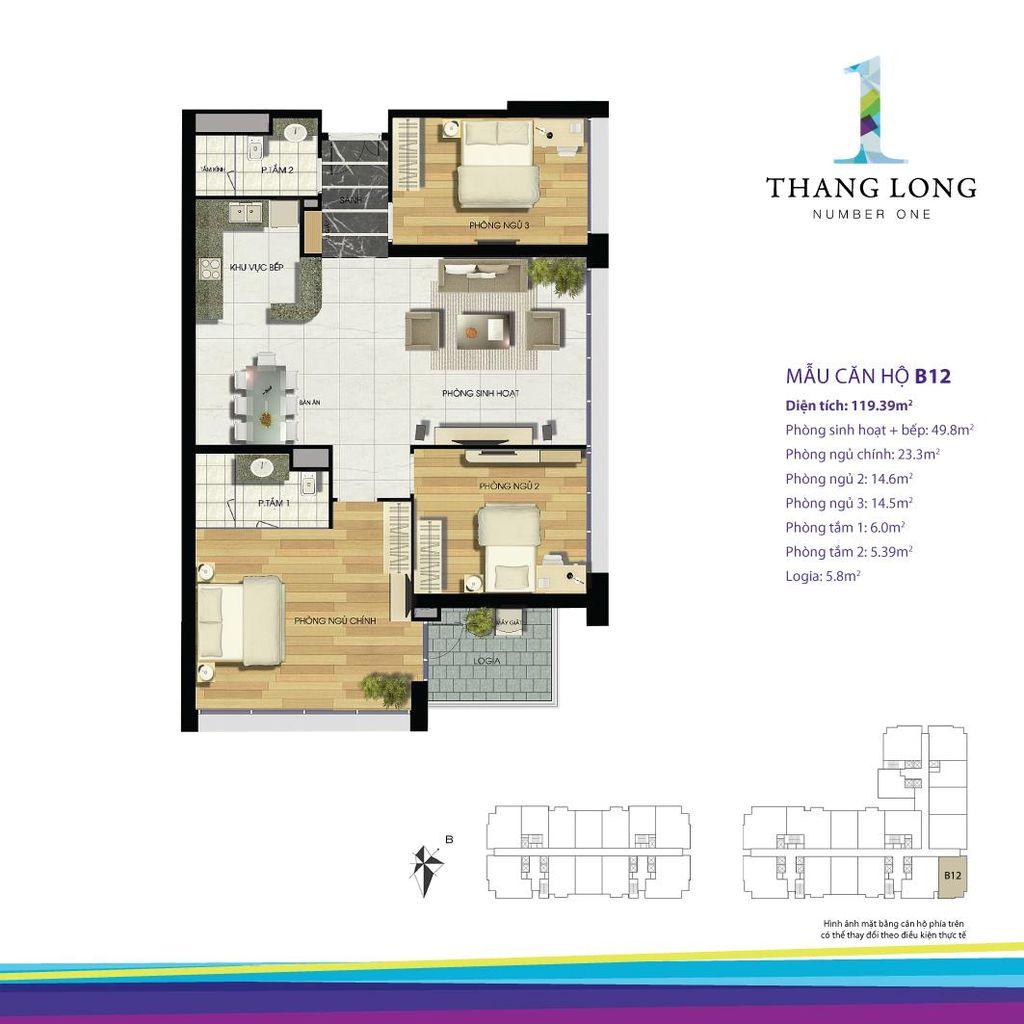 thiết kế căn hộ chung cư thăng long number one căn b12