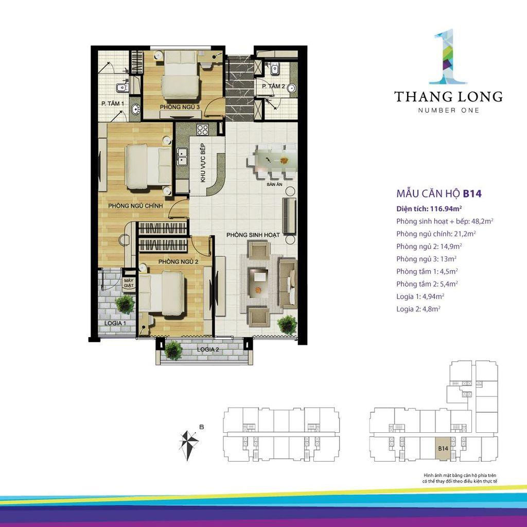 thiết kế căn hộ chung cư thăng long number one căn b14