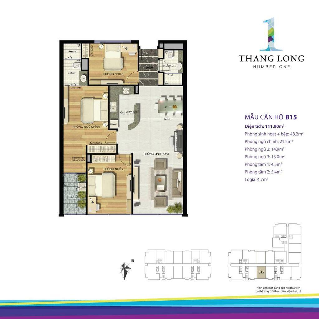thiết kế căn hộ chung cư thăng long number one căn b15