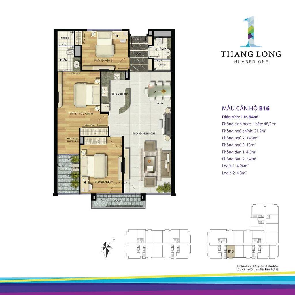 thiết kế căn hộ chung cư thăng long number one căn b16