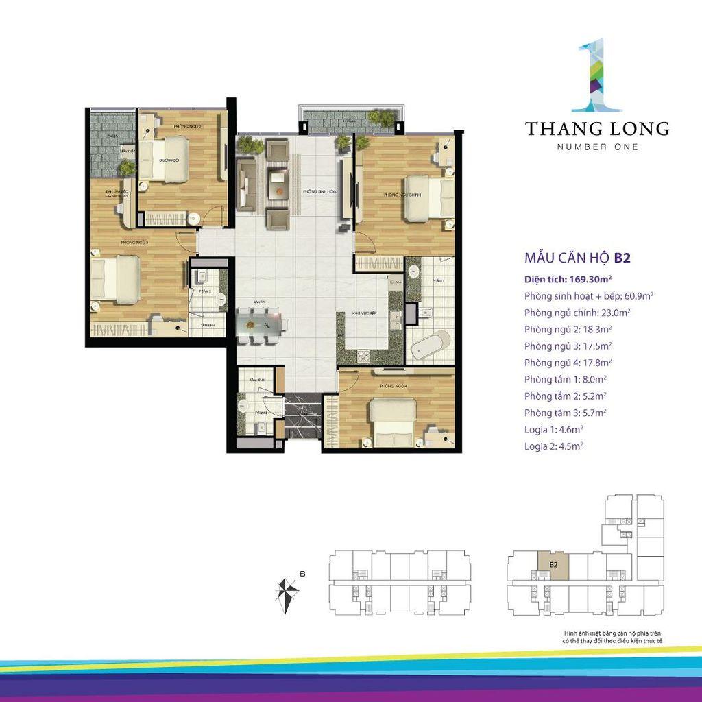 thiết kế căn hộ chung cư thăng long number one căn b2