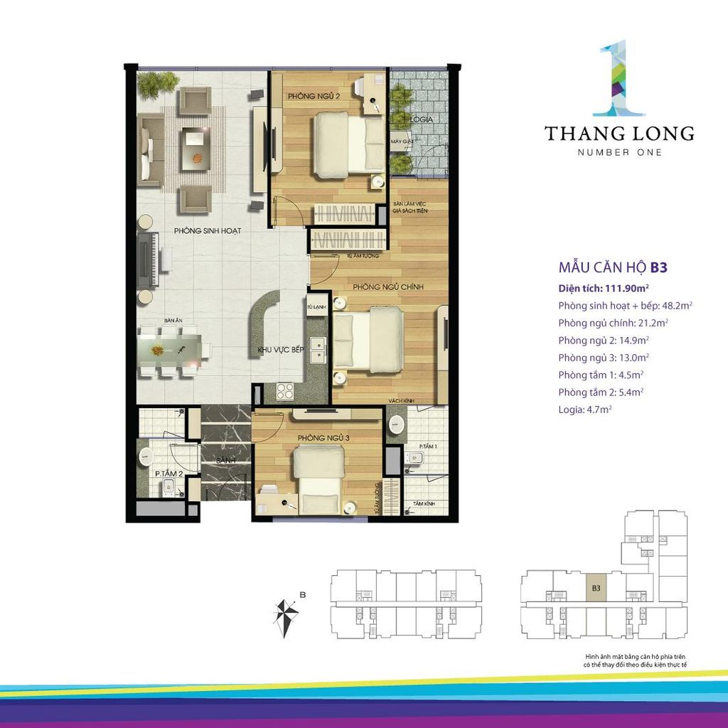 thiết kế căn hộ chung cư thăng long number one căn b3