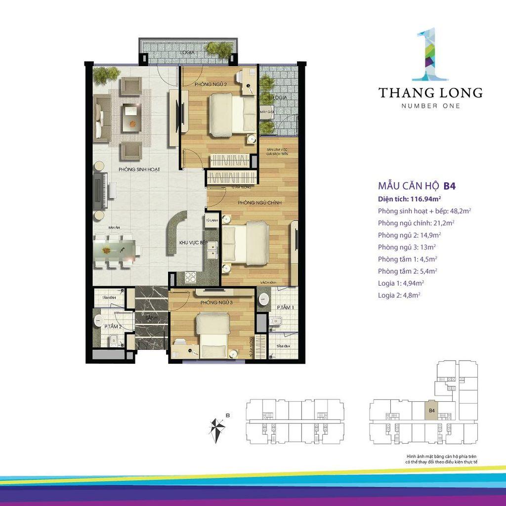 thiết kế căn hộ chung cư thăng long number one căn b4