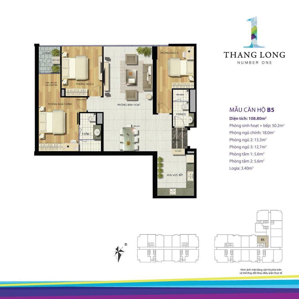 thiết kế căn hộ chung cư thăng long number one căn b5