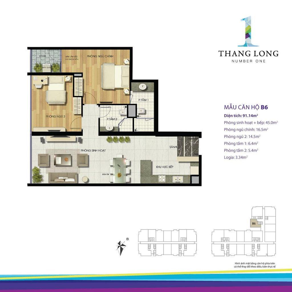 thiết kế căn hộ chung cư thăng long number one căn b6