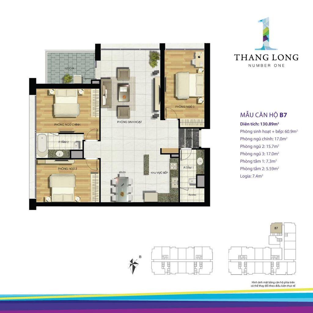 thiết kế căn hộ chung cư thăng long number one căn b7