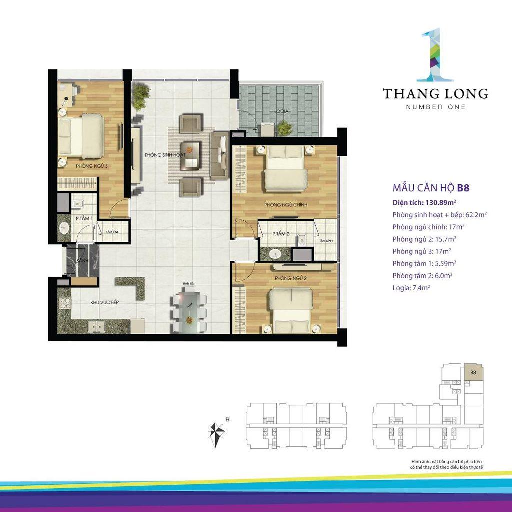 thiết kế căn hộ chung cư thăng long number one căn b8