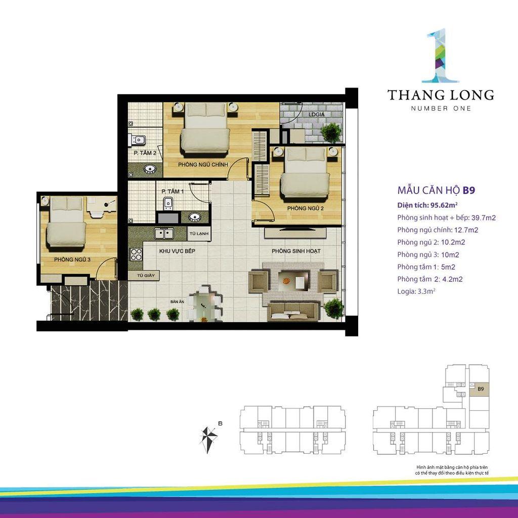 thiết kế căn hộ chung cư thăng long number one căn b9