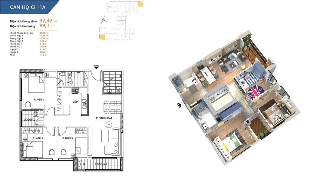 thiết kế chung cư hà nội homeland căn hộ ch1a