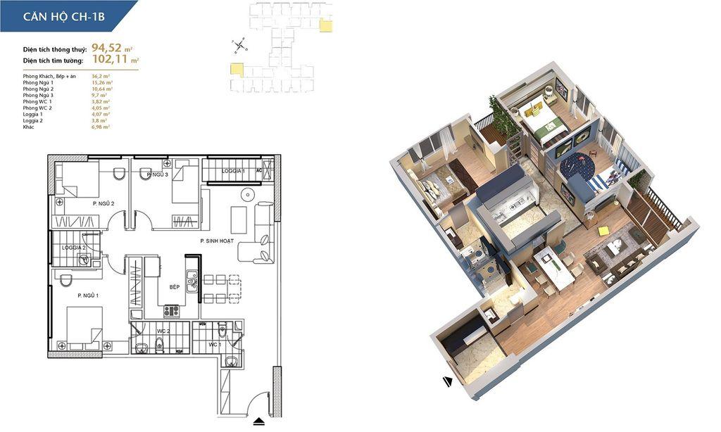 thiết kế chung cư hà nội homeland căn hộ ch1b