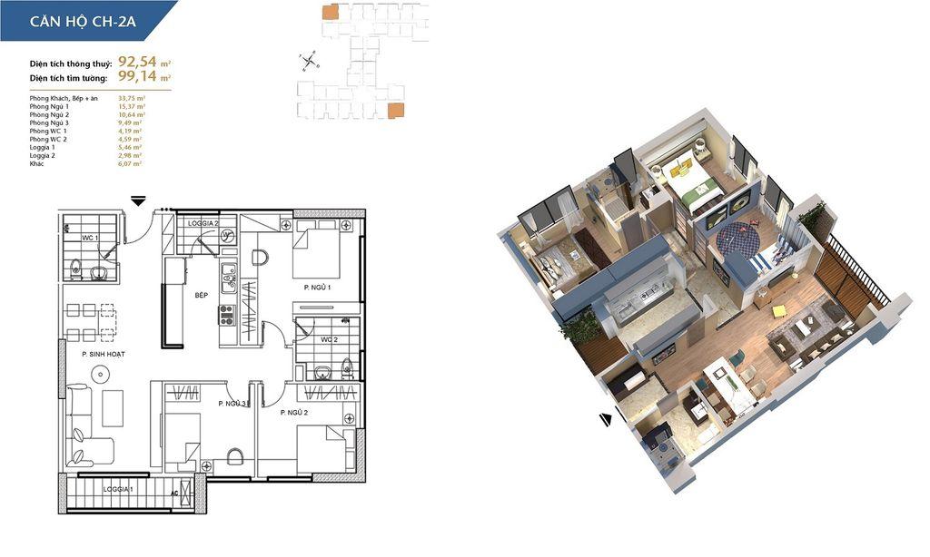 thiết kế chung cư hà nội homeland căn hộ ch2a