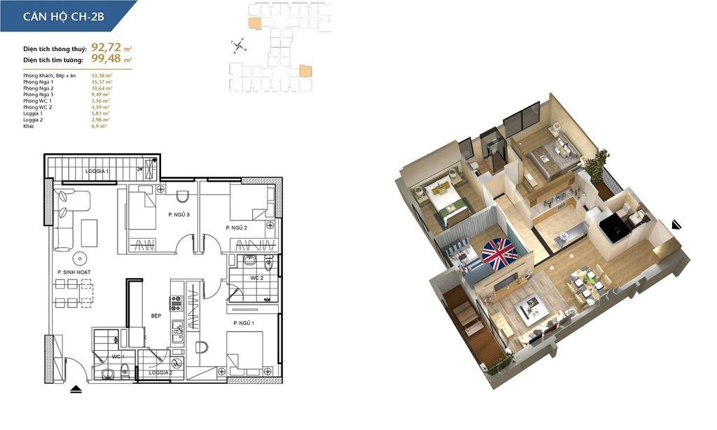 thiết kế chung cư hà nội homeland căn hộ ch2b