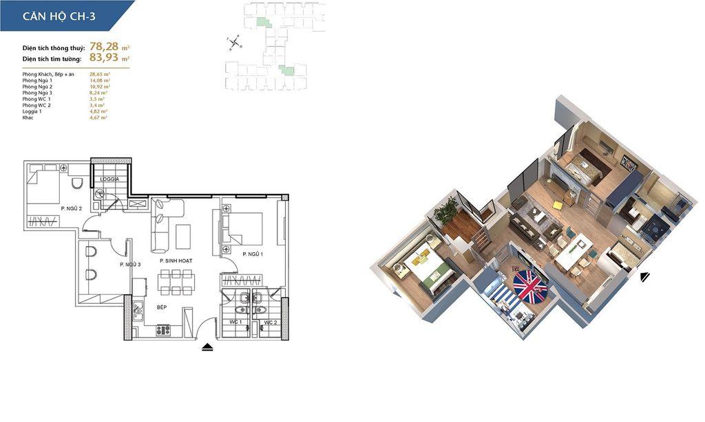 thiết kế chung cư hà nội homeland căn hộ ch3