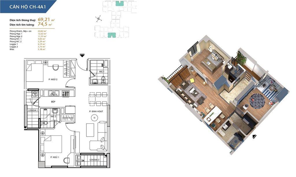 thiết kế chung cư hà nội homeland căn hộ ch4a1