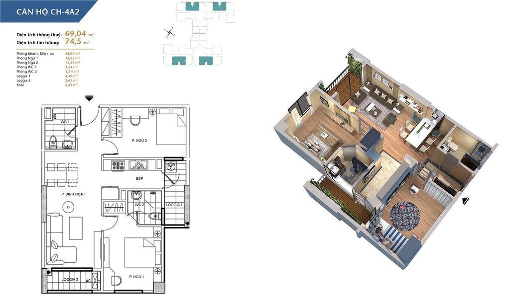 thiết kế chung cư hà nội homeland căn hộ ch4a2