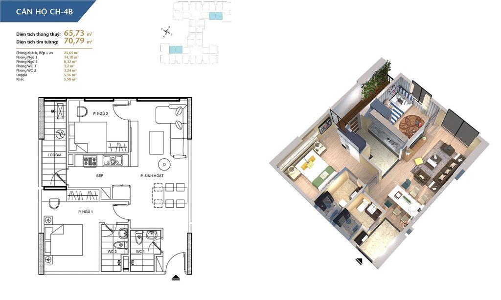 thiết kế chung cư hà nội homeland căn hộ ch4b