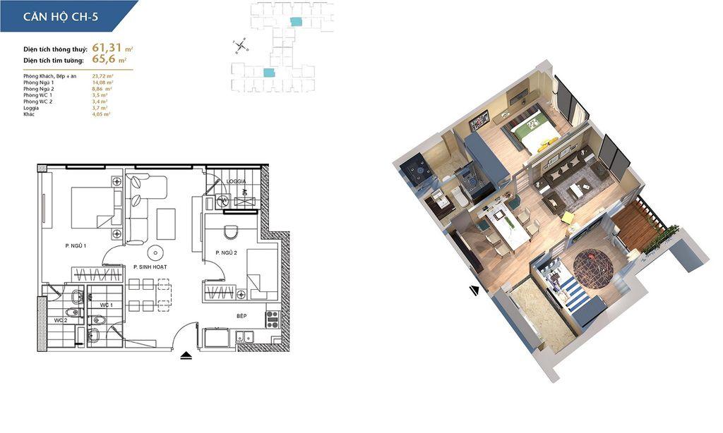 thiết kế chung cư hà nội homeland căn hộ ch5