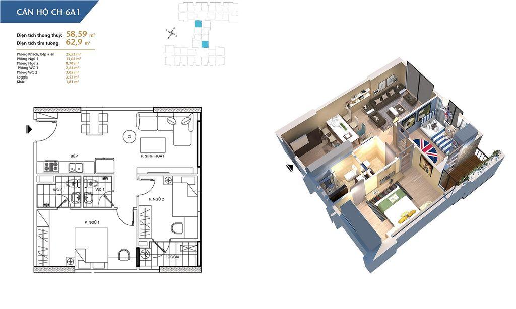 thiết kế chung cư hà nội homeland căn hộ ch6a1