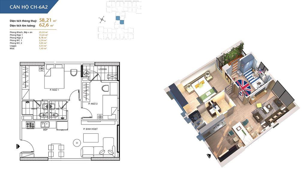 thiết kế chung cư hà nội homeland căn hộ ch6a2