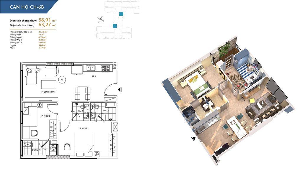 thiết kế chung cư hà nội homeland căn hộ ch6b