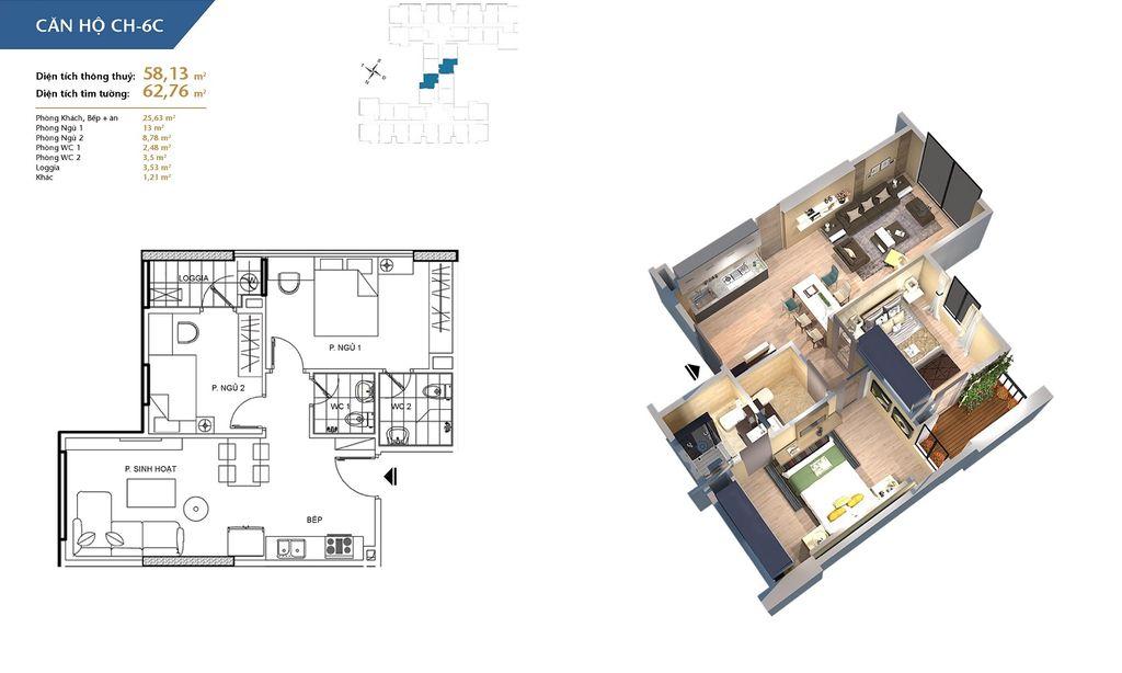 thiết kế chung cư hà nội homeland căn hộ ch6c