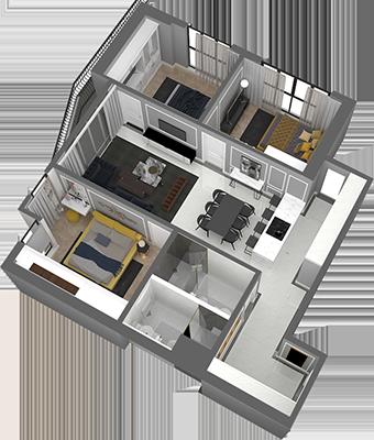 thiết kế chung cư hateco laroma căn ch01
