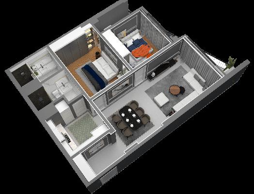 thiết kế chung cư hateco laroma căn ch12